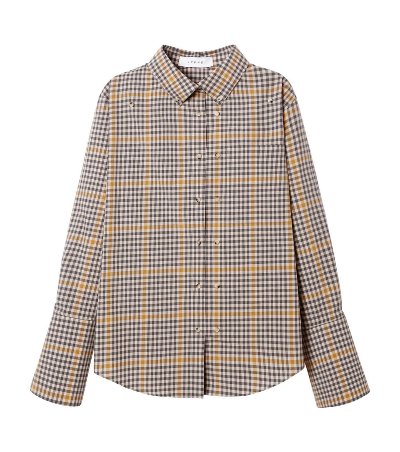 IRENE(アイレネ)のグラフチェックシャツ-LIGHT BEIGE(シャツ/shirt)-19S83001 拡大詳細画像6