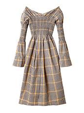 IRENE グラフチェックシャーリングドレス
