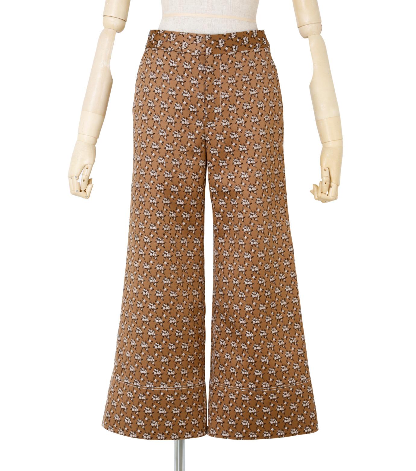 IRENE(アイレネ)のフラワーサテンパンツ-BROWN(パンツ/pants)-19S88001 拡大詳細画像1