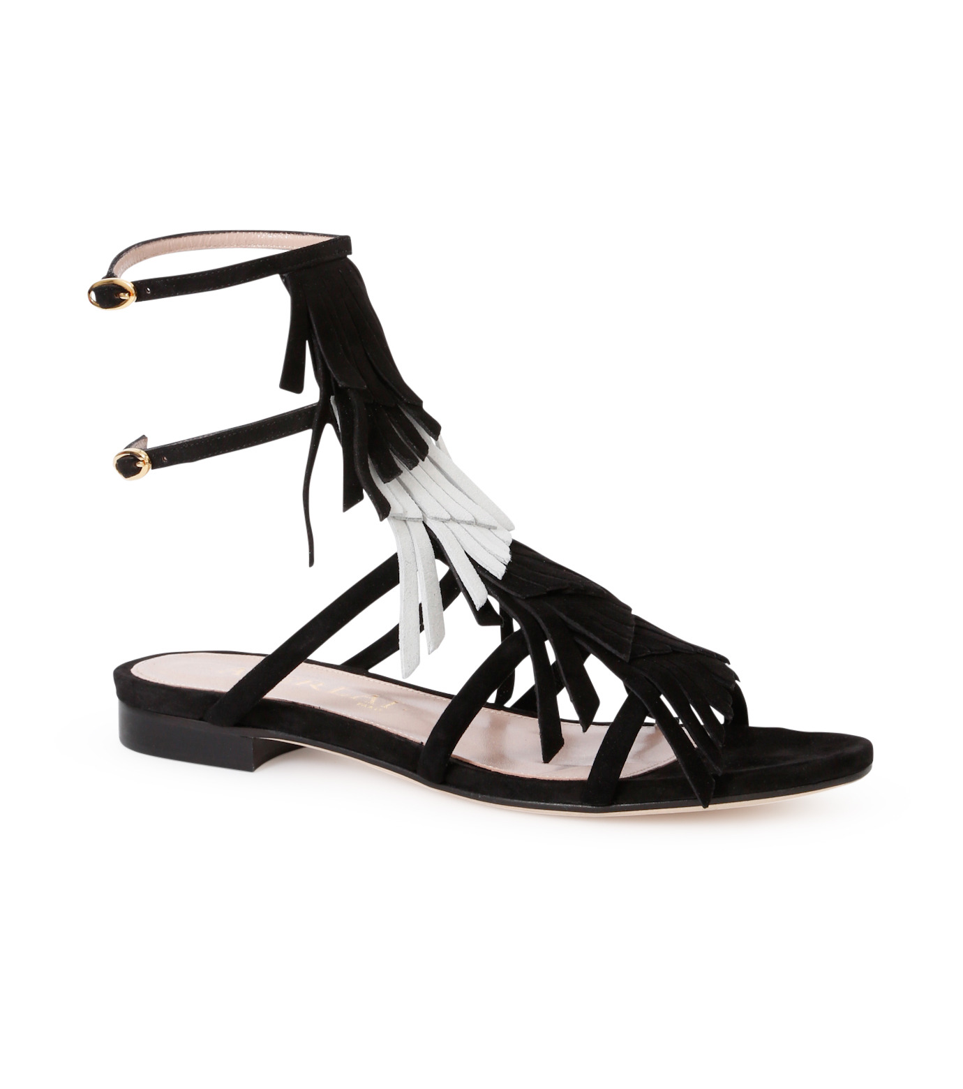 Aperlai(アペルライ)のFlat Sandal Fringes-BLACK(シューズ/shoes)-2046-13 拡大詳細画像1