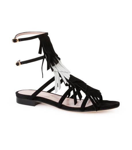 Aperlai(アペルライ)のFlat Sandal Fringes-BLACK(シューズ/shoes)-2046-13 詳細画像1