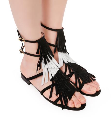 Aperlai(アペルライ)のFlat Sandal Fringes-BLACK(シューズ/shoes)-2046-13 詳細画像5