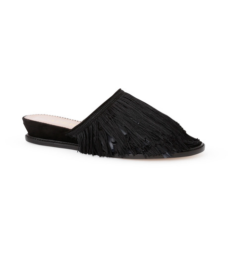 Aperlai(アペルライ)のFeather & Fringe Flat-BLACK(シューズ/shoes)-2060-13 詳細画像1
