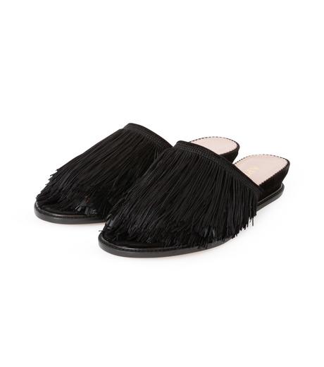 Aperlai(アペルライ)のFeather & Fringe Flat-BLACK(シューズ/shoes)-2060-13 詳細画像2
