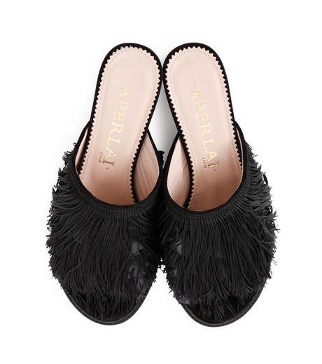 Aperlai(アペルライ)のFeather & Fringe Flat-BLACK(シューズ/shoes)-2060-13 詳細画像4