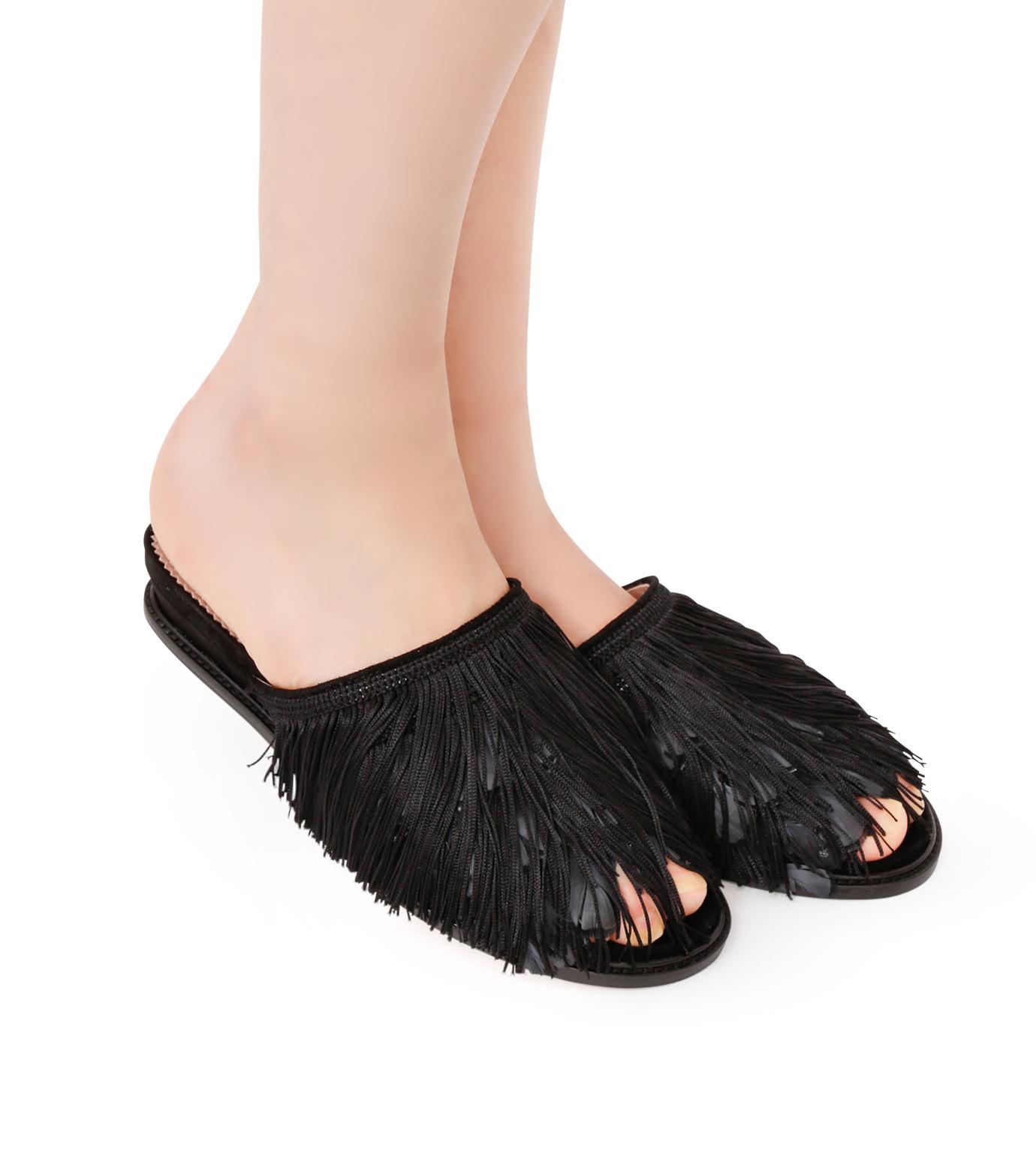 Aperlai(アペルライ)のFeather & Fringe Flat-BLACK(シューズ/shoes)-2060-13 拡大詳細画像5