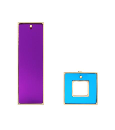 Sylvio Giardina(シルビオ・ジャルディーナ)のRectangle/Frame Earrings-PURPLE-2526-82 詳細画像1