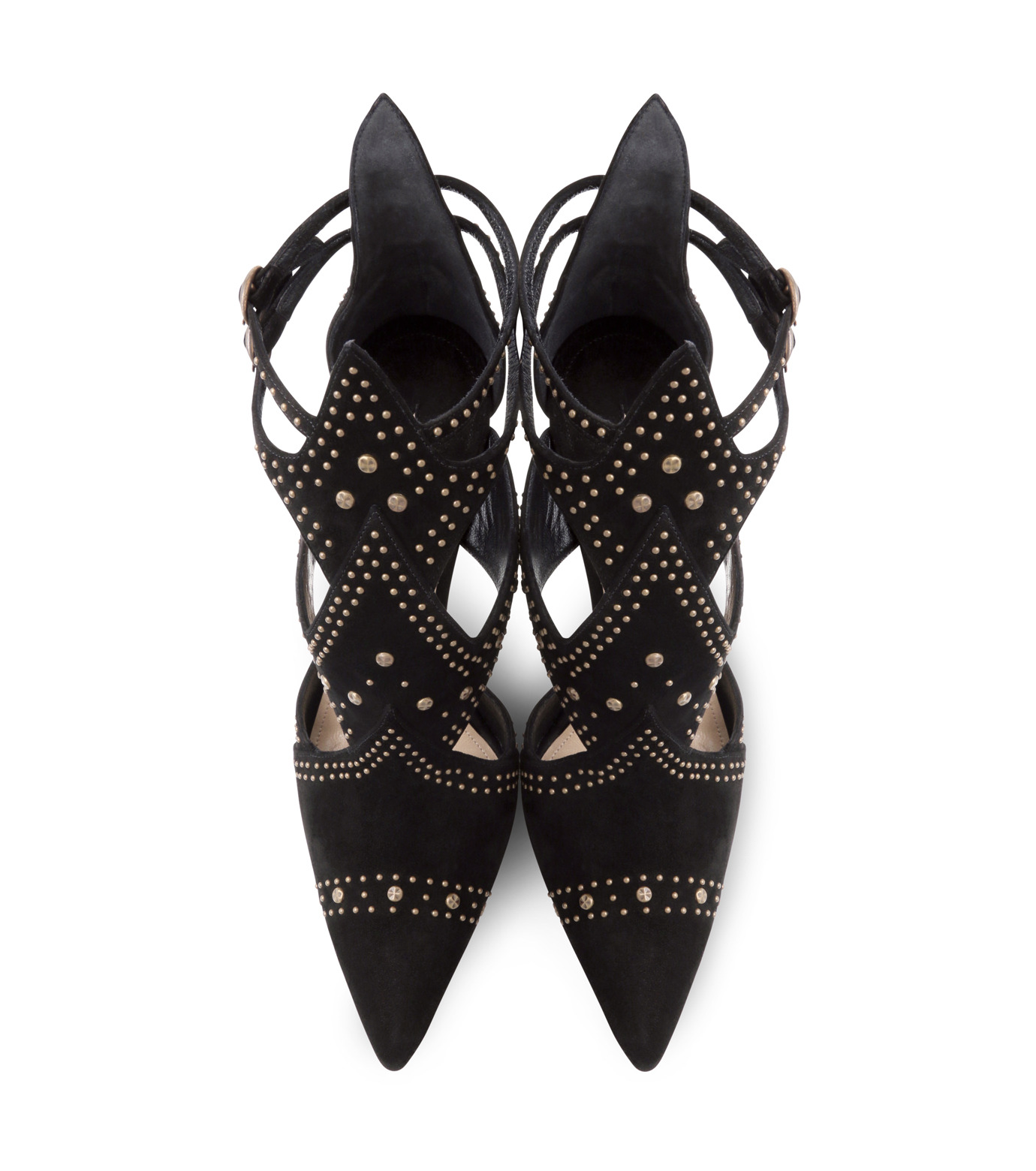 Paul Andrew(ポールアンドリュー)のpanel suede sandal w/studs-BLACK(シューズ/shoes)-314910-13 拡大詳細画像4