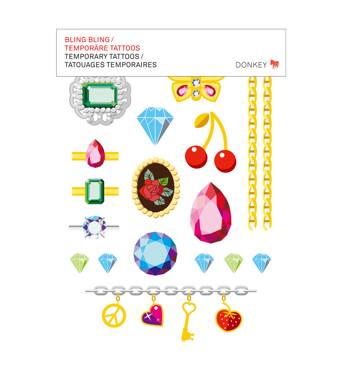 Donkey Products(ドンキー・プロダクツ)のTemporary Tattoos -Bling Bling--MULTI COLOUR(アザーズ/others)-330505-9 拡大詳細画像1