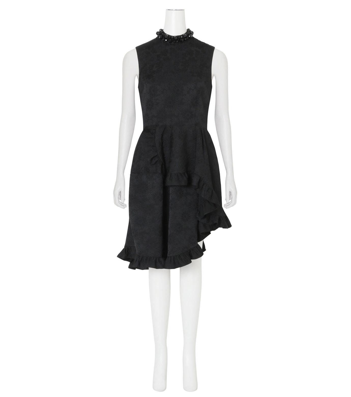 Simone Rocha(シモーネロシャ)のCotton Brocade Dress w/Beads-BLACK(ワンピース/one piece)-3749B-13 拡大詳細画像1