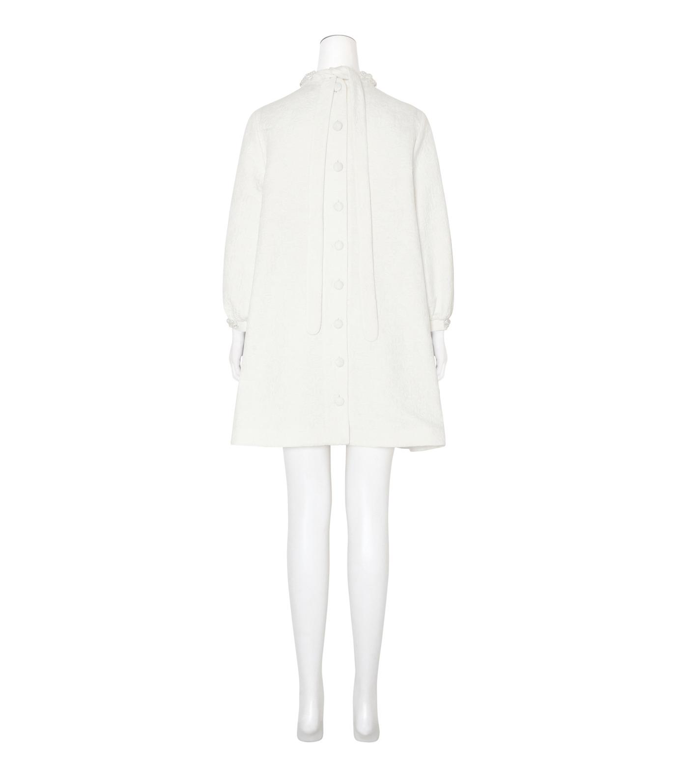 Simone Rocha(シモーネロシャ)のCotton Brocade Tunic Dress w/Beads-WHITE(ワンピース/one piece)-3750B-5 拡大詳細画像2