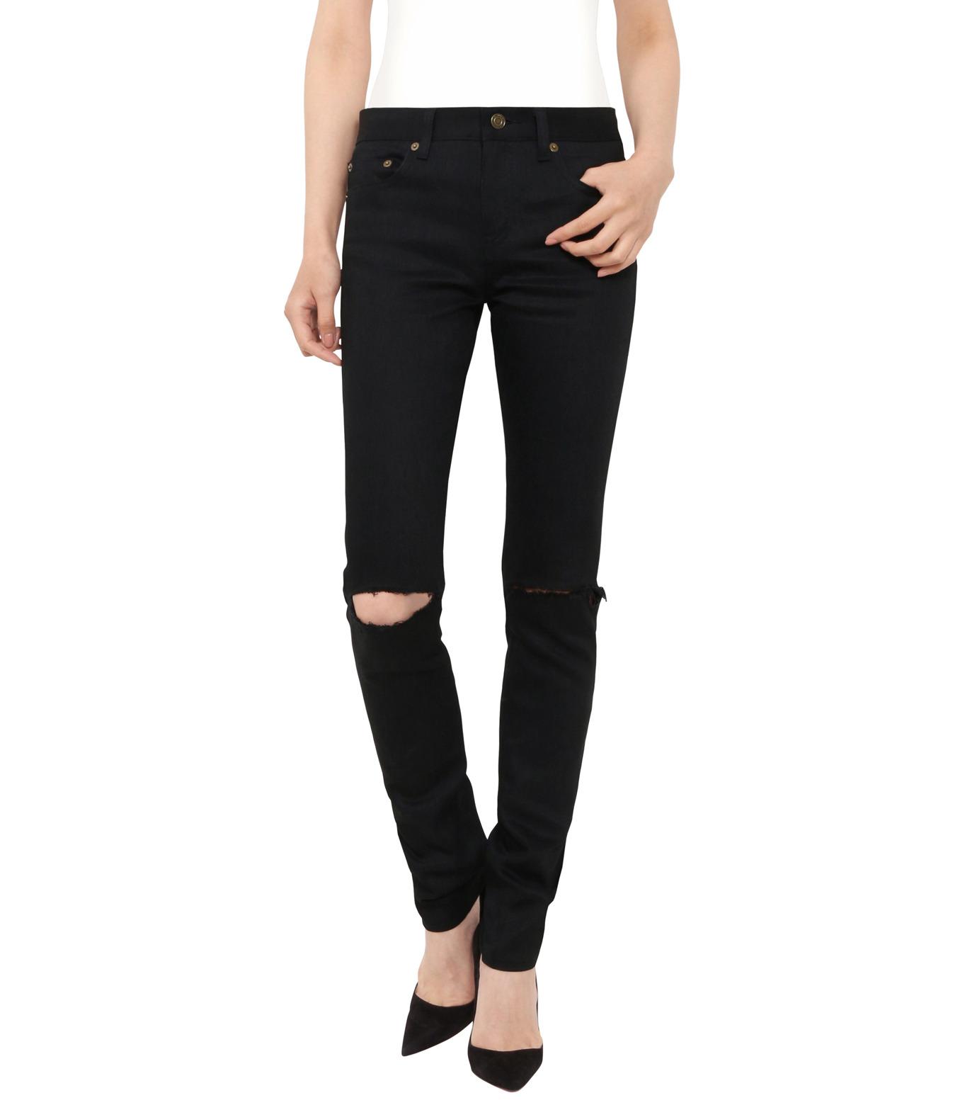 SAINT LAURENT(サンローラン)のskinny low waist knee holes-BLACK(デニム/denim)-398184-Y471K-13 拡大詳細画像1
