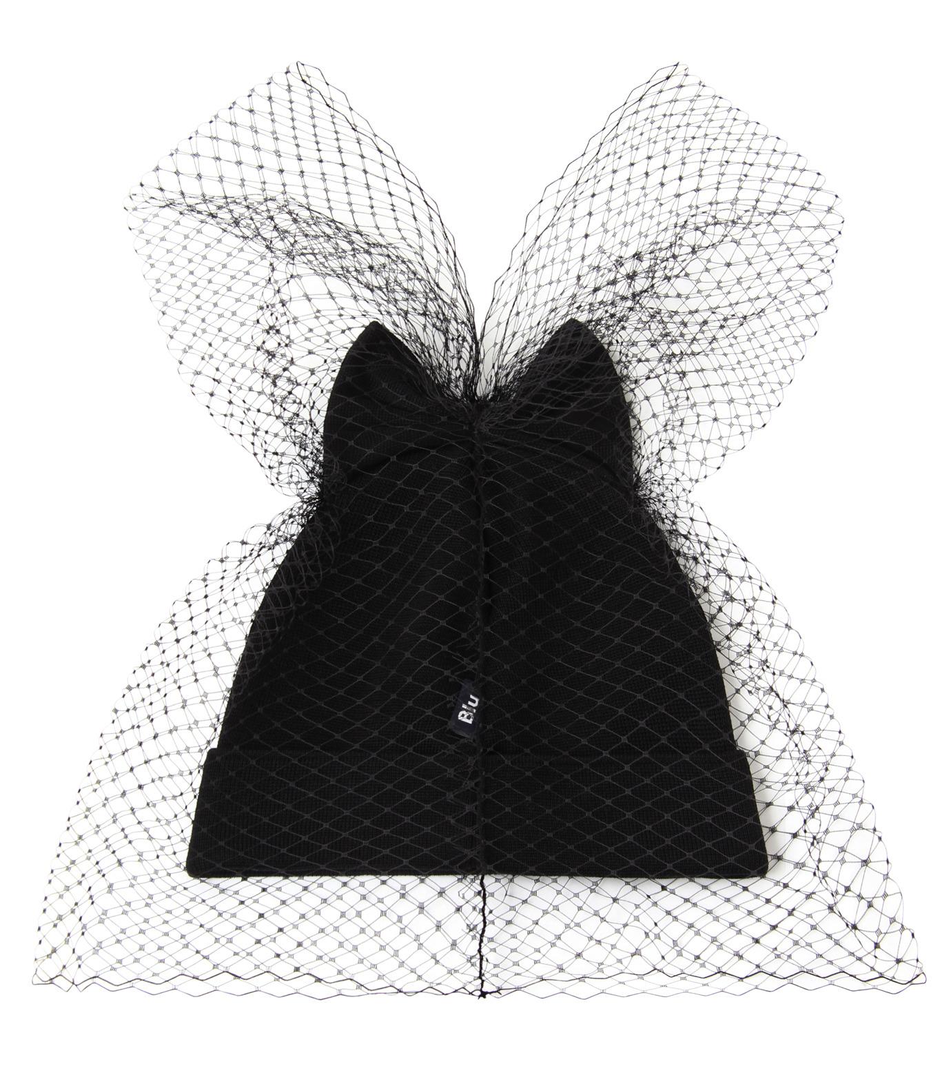 Federica Moretti(フェデリカ モレッティ)のBow Knit Cap w/Veil-BLACK(キャップ/cap)-40016-13 拡大詳細画像2