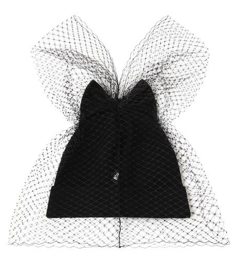 Federica Moretti(フェデリカ モレッティ)のBow Knit Cap w/Veil-BLACK(キャップ/cap)-40016-13 詳細画像2