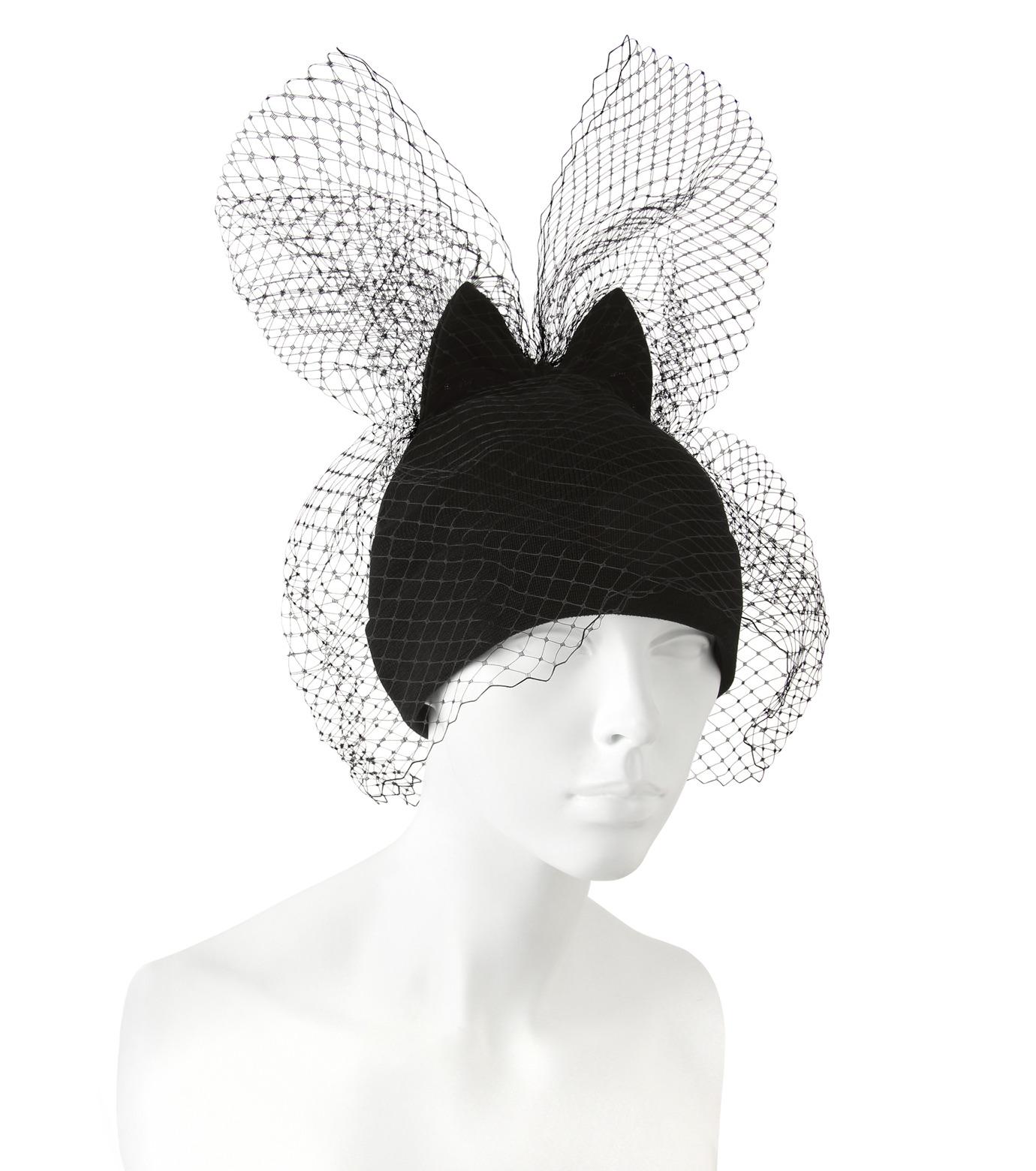 Federica Moretti(フェデリカ モレッティ)のBow Knit Cap w/Veil-BLACK(キャップ/cap)-40016-13 拡大詳細画像3