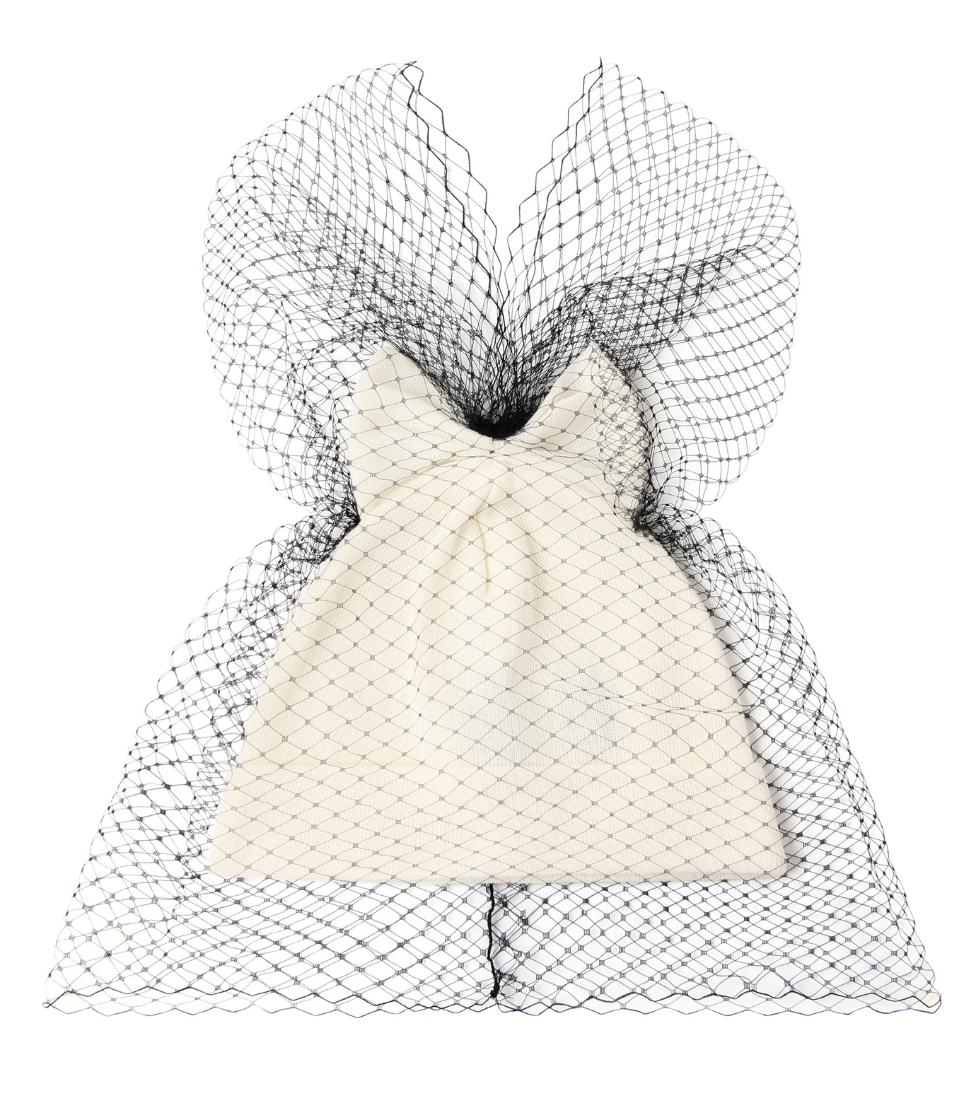 Federica Moretti(フェデリカ モレッティ)のBow Knit Cap w/Veil-WHITE(キャップ/cap)-40017-5 拡大詳細画像1