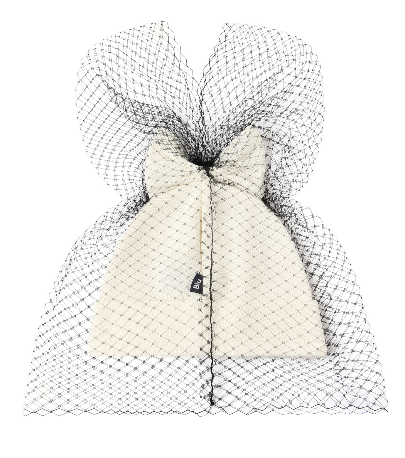 Federica Moretti(フェデリカ モレッティ)のBow Knit Cap w/Veil-WHITE(キャップ/cap)-40017-5 拡大詳細画像2