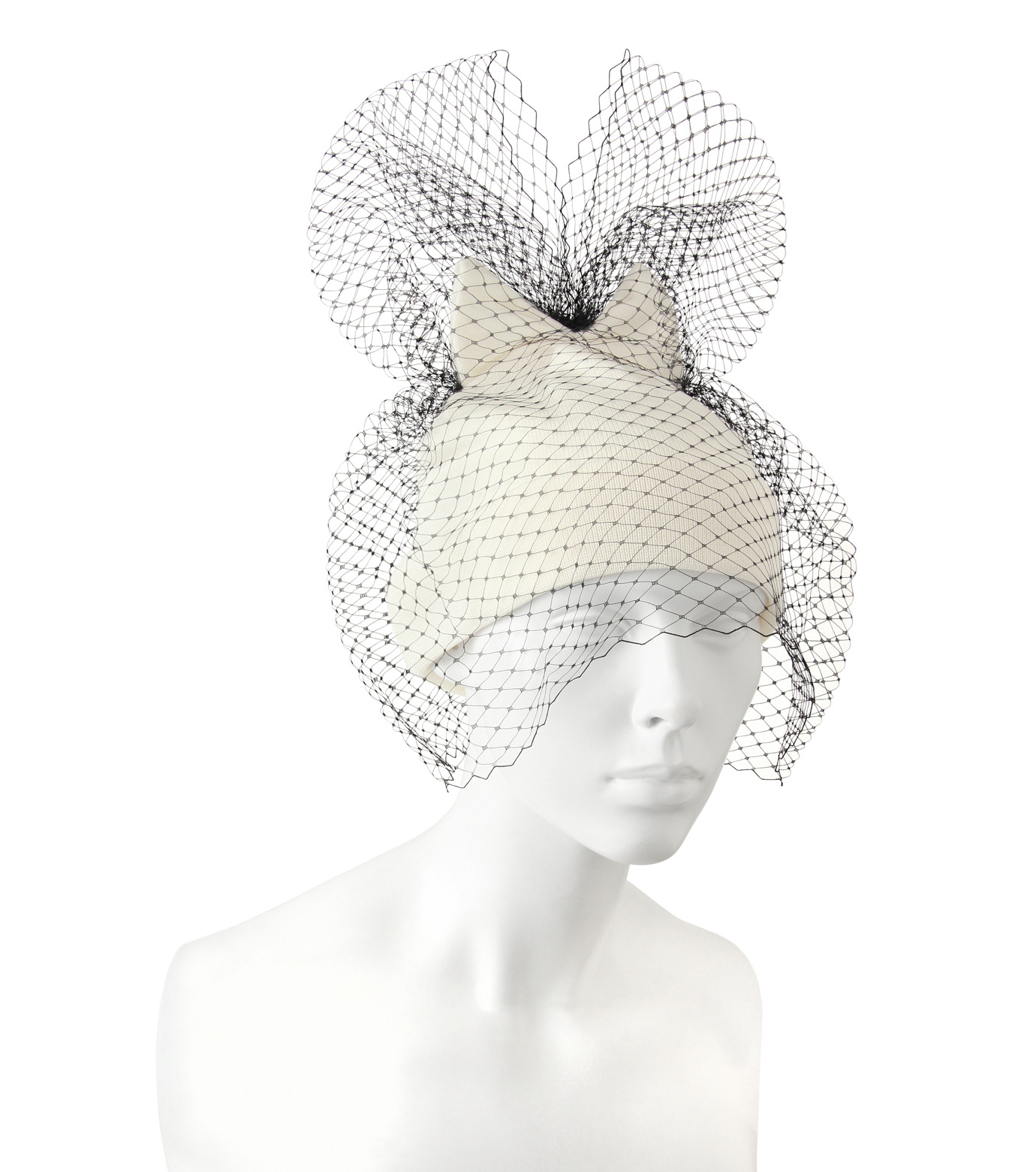 Federica Moretti(フェデリカ モレッティ)のBow Knit Cap w/Veil-WHITE(キャップ/cap)-40017-5 拡大詳細画像3
