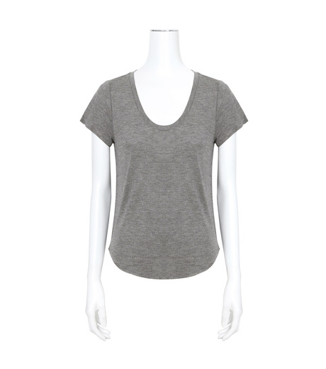T by Alexander Wang(ティーバイ アレキサンダーワン)のVneck Cap Slv T-GRAY(カットソー/cut and sewn)-400215-11 詳細画像1