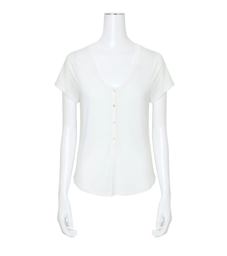T by Alexander Wang(ティーバイ アレキサンダーワン)のCap Slv Henley T-WHITE(カットソー/cut and sewn)-400218-4 詳細画像1