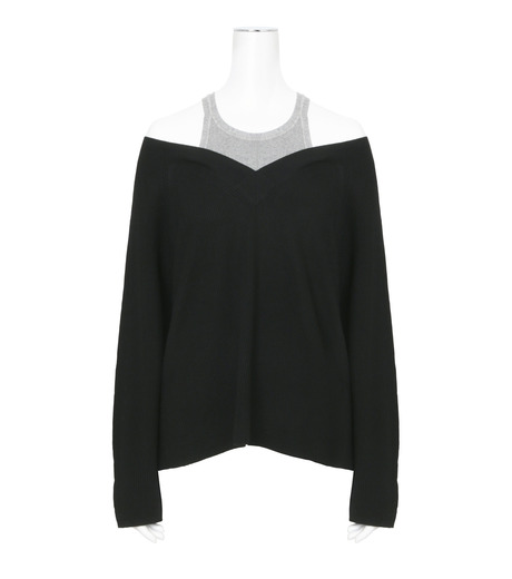 T by Alexander Wang(ティーバイ アレキサンダーワン)のVneck Sweater w/Inner Cotton Tank-BLACK(ニット/knit)-402308R17-13 詳細画像1