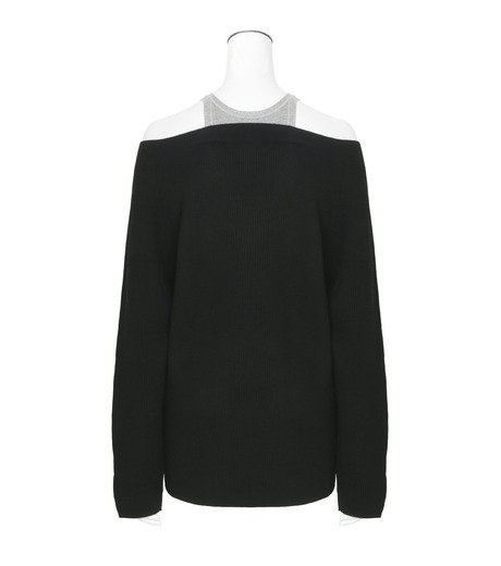 T by Alexander Wang(ティーバイ アレキサンダーワン)のVneck Sweater w/Inner Cotton Tank-BLACK(ニット/knit)-402308R17-13 詳細画像2