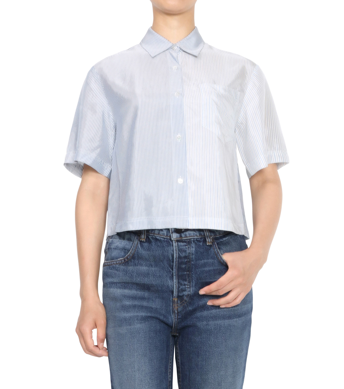 T by Alexander Wang(ティーバイ アレキサンダーワン)のWashed Stripe SS Shirt-NAVY(シャツ/shirt)-403202P16-93 拡大詳細画像1