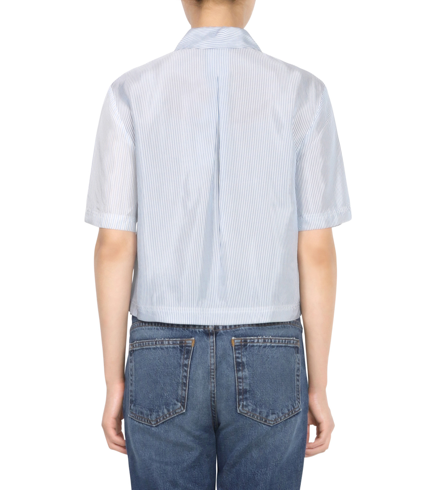 T by Alexander Wang(ティーバイ アレキサンダーワン)のWashed Stripe SS Shirt-NAVY(シャツ/shirt)-403202P16-93 拡大詳細画像2