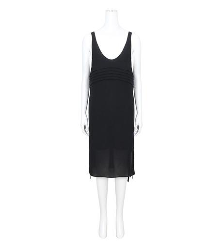 T by Alexander Wang(ティーバイ アレキサンダーワン)のPleated Front Tie Tank Dress-BLACK(ワンピース/one piece)-403417R17-13 詳細画像1