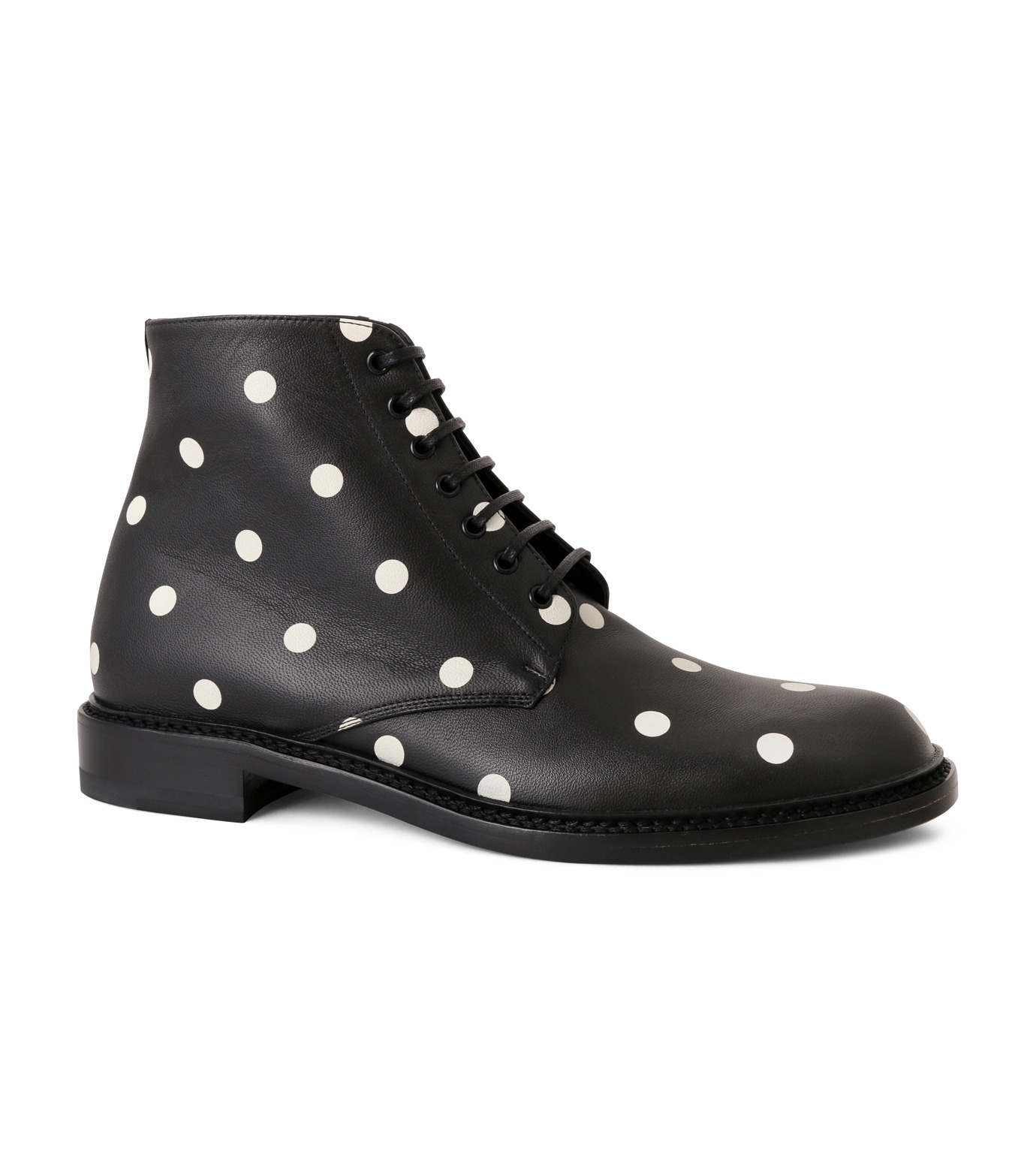 SAINT LAURENT(サンローラン)のLolita Lace Up Boots Dots-BLACK(ブーツ/boots)-417667-CZC00-13 拡大詳細画像1
