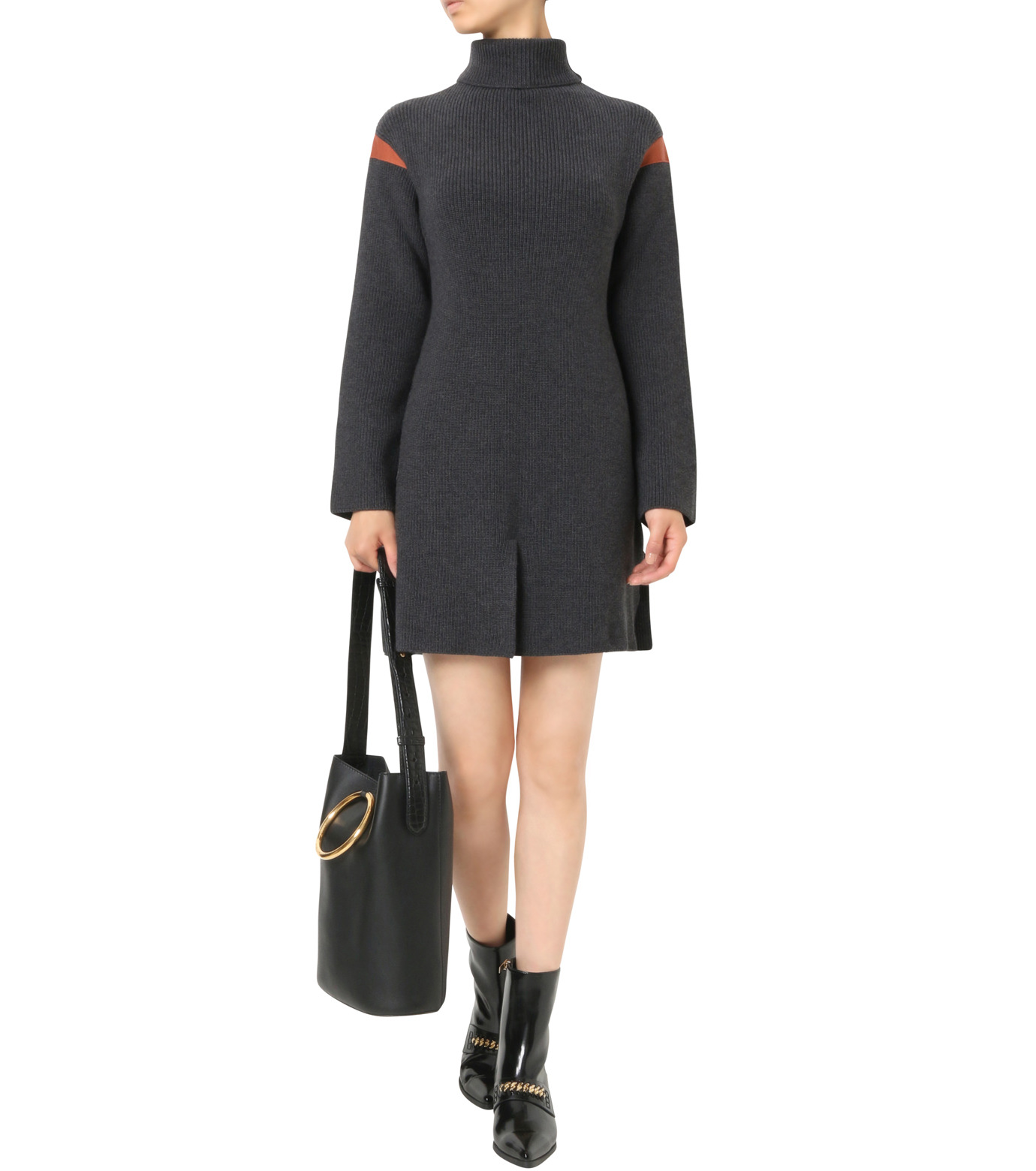 Stella McCartney(ステラマッカートニー)のClean Ribs Turtleneck Dress-CHARCHOL GRAY(ニット/knit)-427388-S1672-12 拡大詳細画像1