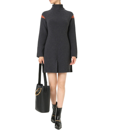 Stella McCartney(ステラマッカートニー)のClean Ribs Turtleneck Dress-CHARCHOL GRAY(ニット/knit)-427388-S1672-12 詳細画像1