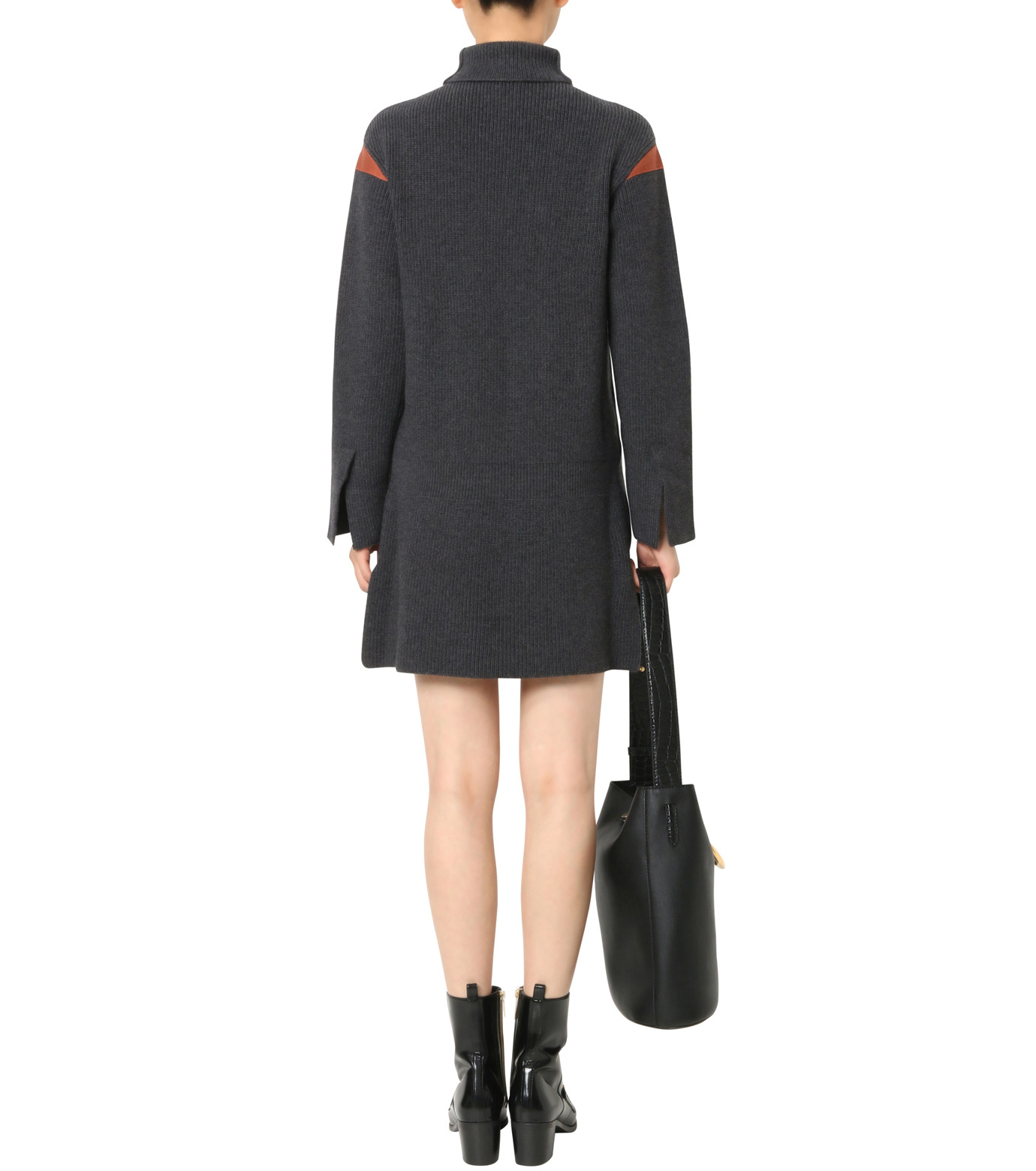 Stella McCartney(ステラマッカートニー)のClean Ribs Turtleneck Dress-CHARCHOL GRAY(ニット/knit)-427388-S1672-12 拡大詳細画像2