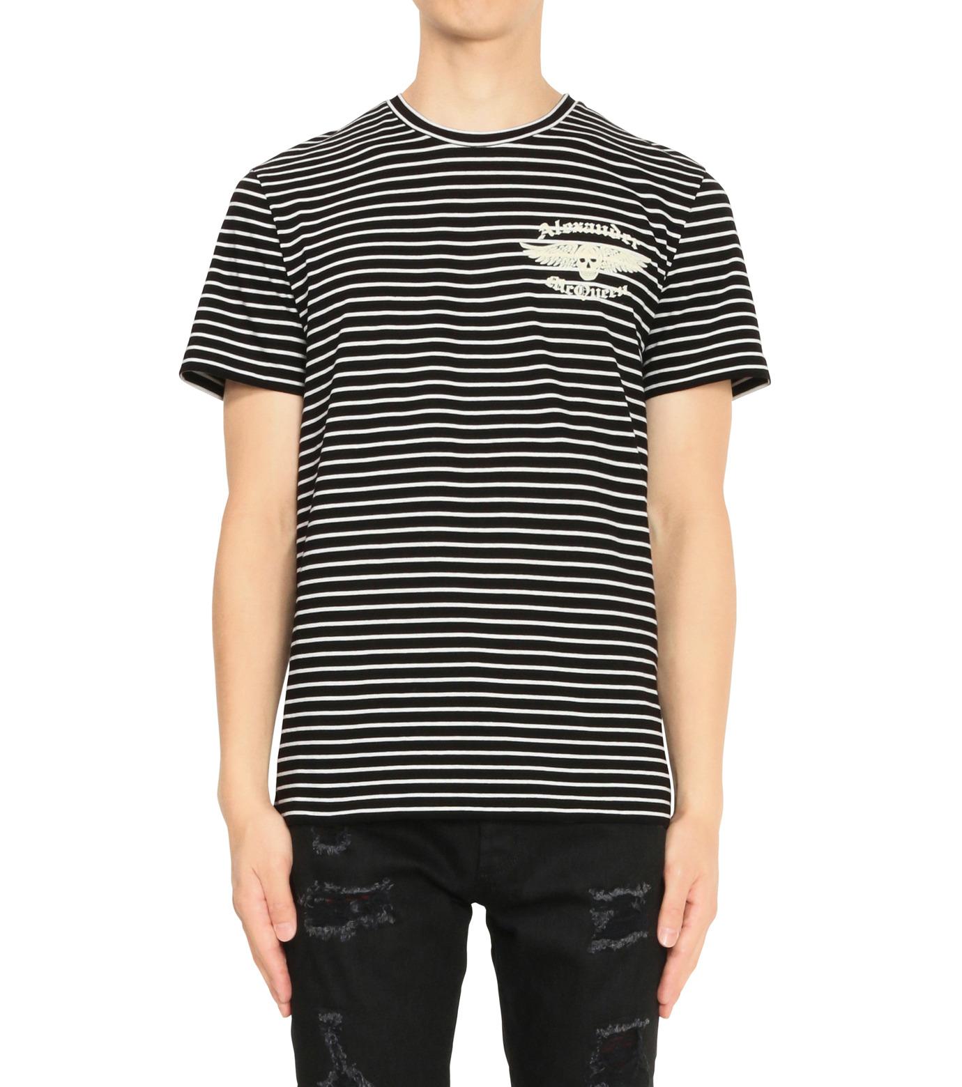 Alexander McQueen(アレキサンダーマックイーン)のBorder T Shirt-BLACK(カットソー/cut and sewn)-430934-13 拡大詳細画像1
