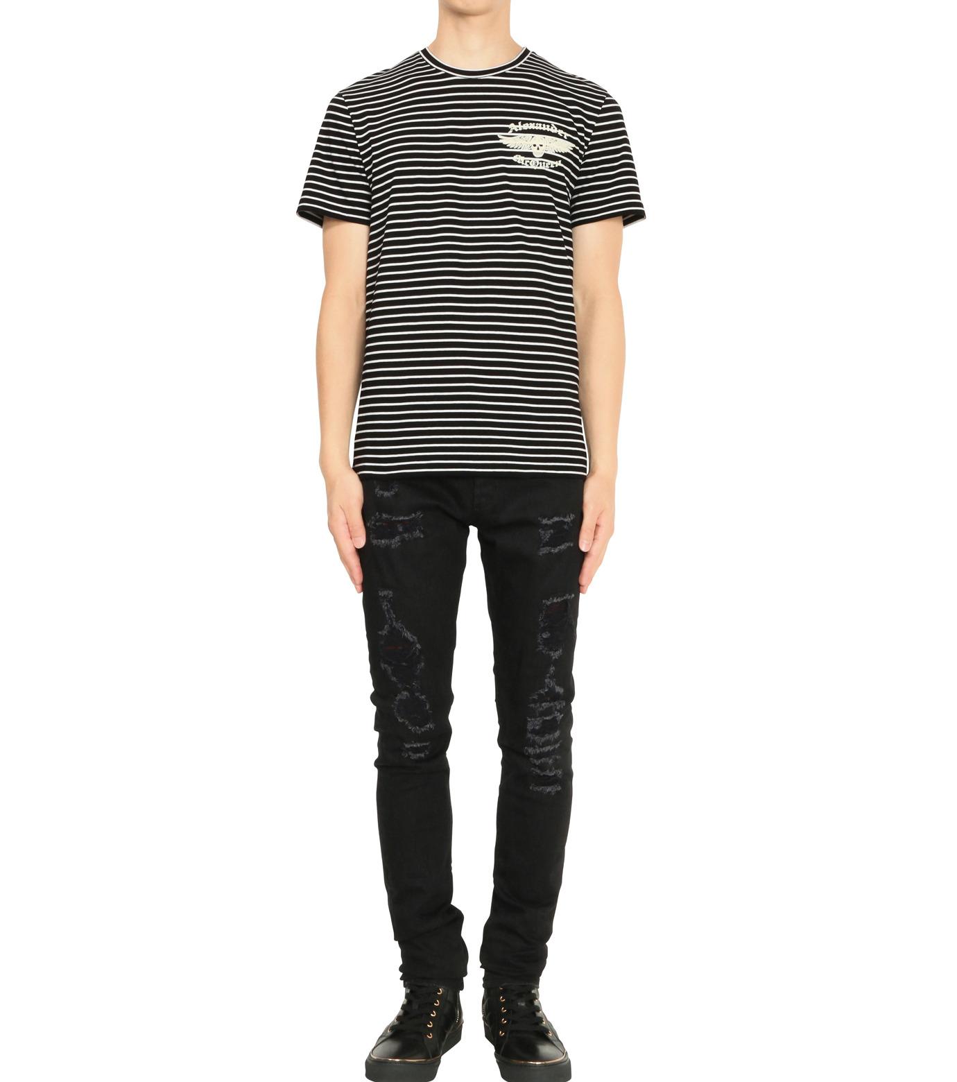 Alexander McQueen(アレキサンダーマックイーン)のBorder T Shirt-BLACK(カットソー/cut and sewn)-430934-13 拡大詳細画像3