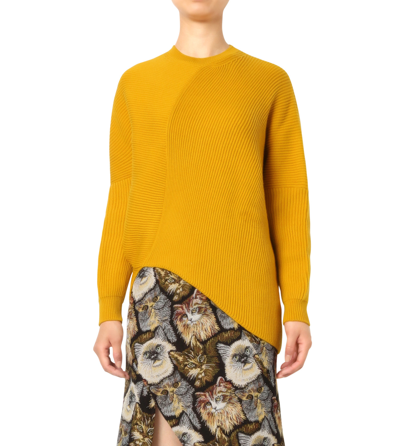 Stella McCartney(ステラマッカートニー)のClean Ribs Crew Neck Jumper-YELLOW(ニット/knit)-431737-S1672-32 拡大詳細画像1