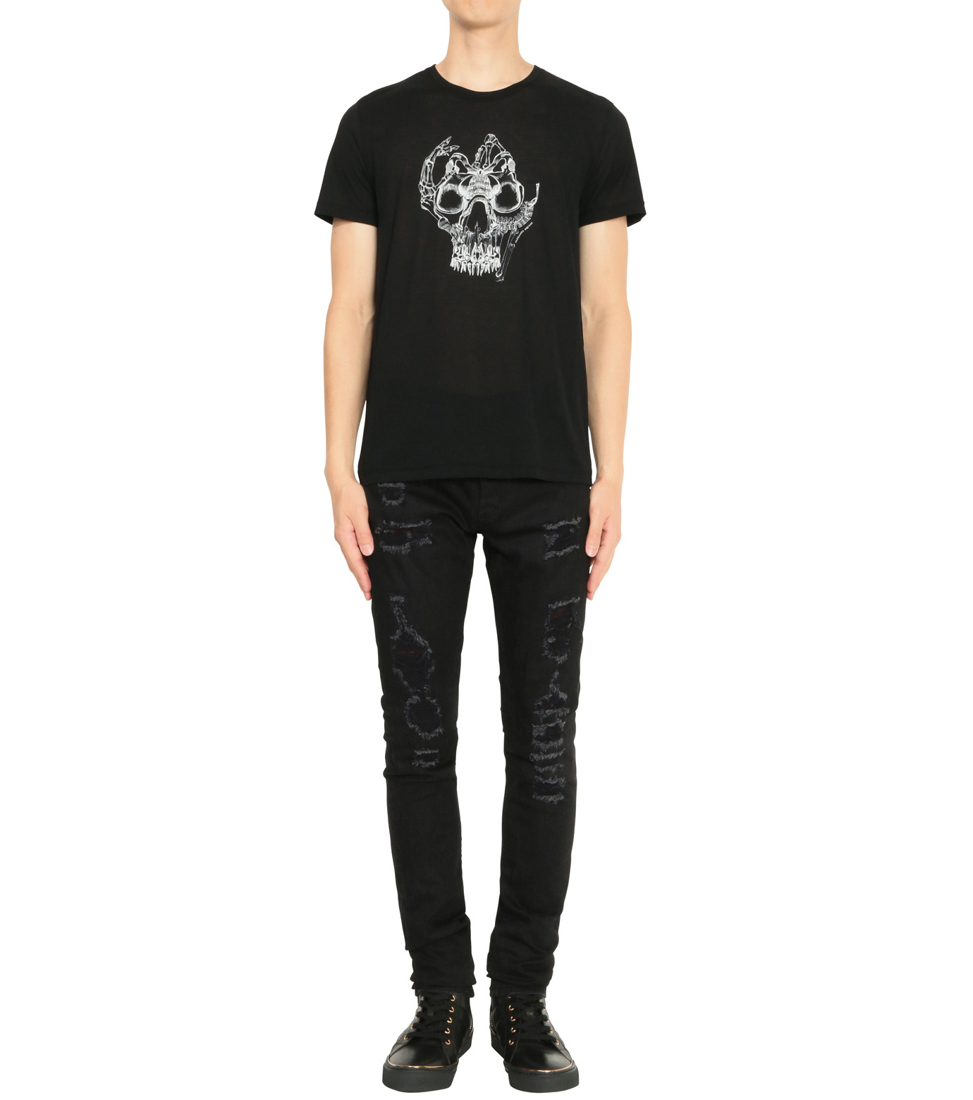 Alexander McQueen(アレキサンダーマックイーン)のPrint T-BLACK(カットソー/cut and sewn)-435907QHZT8-13 拡大詳細画像3