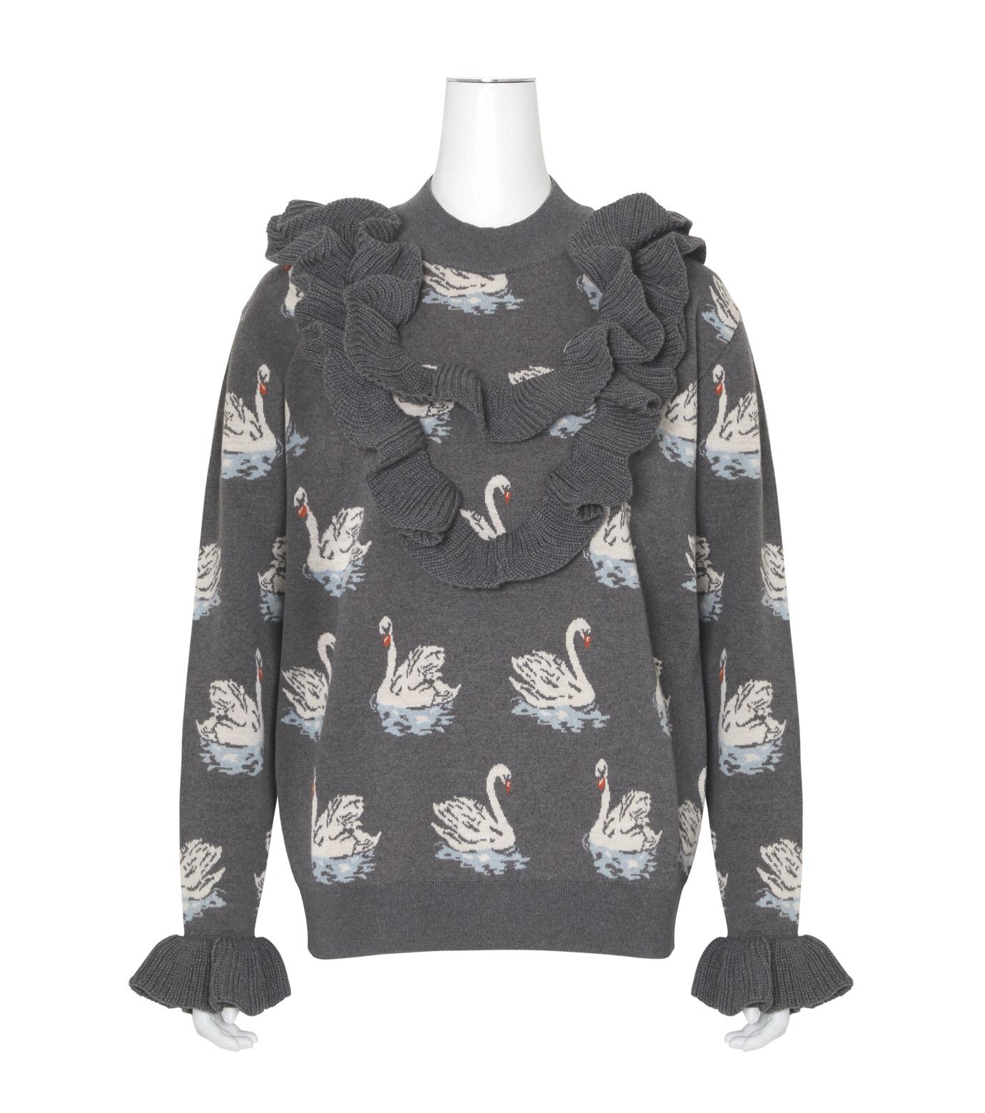 Stella McCartney(ステラマッカートニー)のSwan Jacquard Knit Jumper-GRAY(ニット/knit)-444407-S1724-11 拡大詳細画像1