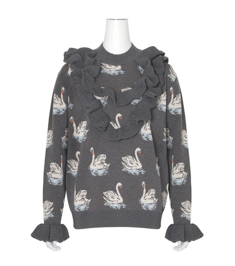 Stella McCartney(ステラマッカートニー)のSwan Jacquard Knit Jumper-GRAY(ニット/knit)-444407-S1724-11 詳細画像1