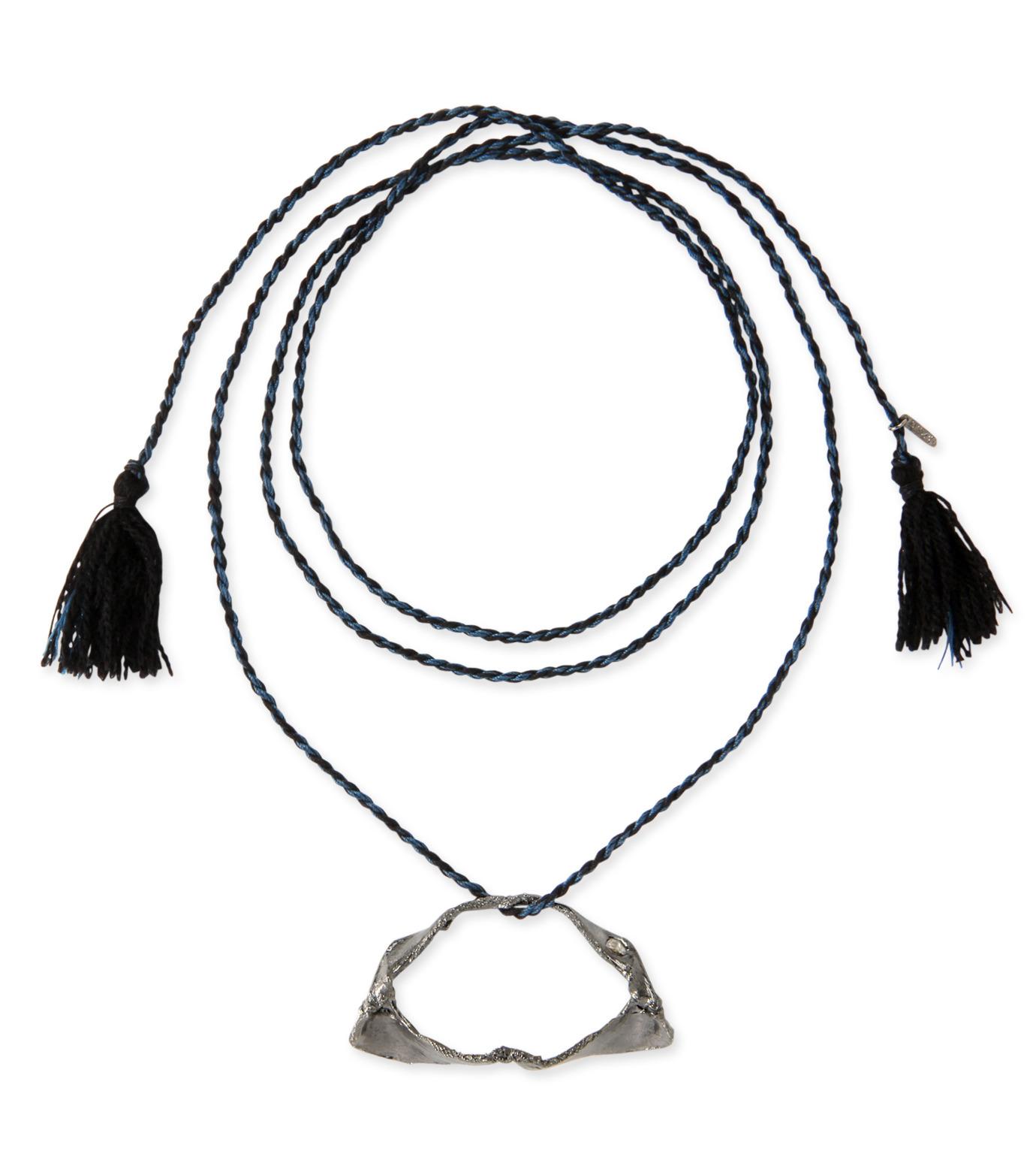 Dezso by Sara Beltran(デッツォバイ サラ ベルトラン)のShark jaw silver black rodium tassel necklace with diamond-BLACK(インテリア/interior)-5N302-13 拡大詳細画像1