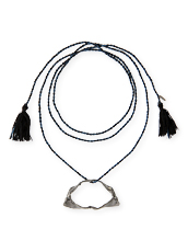Dezso by Sara Beltran Shark jaw silver black rodium tassel necklace with diamond
