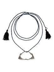 Dezso by Sara Beltran(デッツォバイ サラ ベルトラン) Shark jaw silver black rodium tassel necklace with diamond