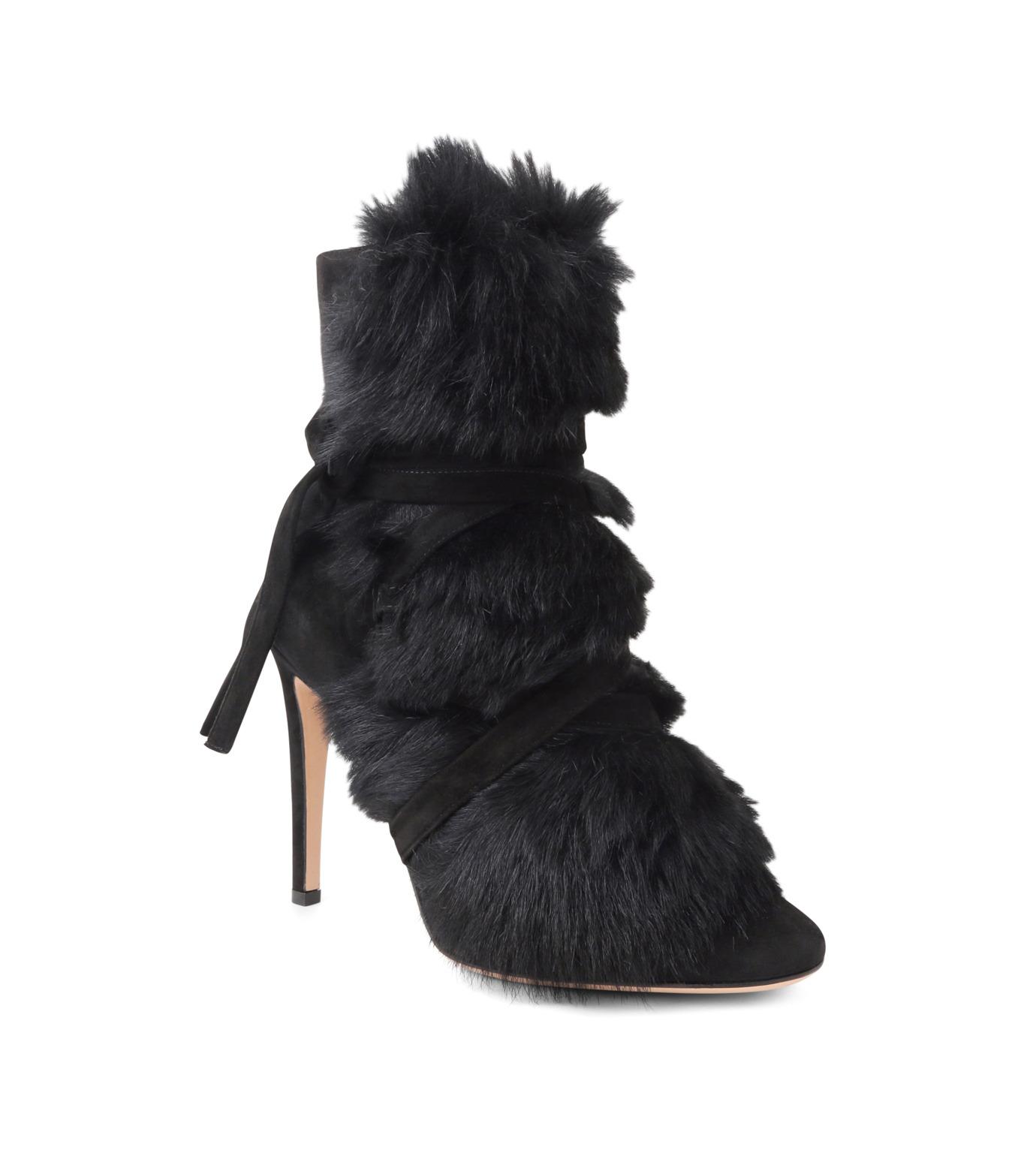 Gianvito Rossi(ジャンヴィト ロッシ)のShort Boots w/Goat Fur-BLACK(ブーツ/boots)-70469-13 拡大詳細画像1