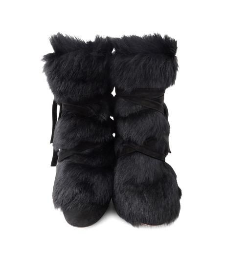 Gianvito Rossi(ジャンヴィト ロッシ)のShort Boots w/Goat Fur-BLACK(ブーツ/boots)-70469-13 詳細画像4