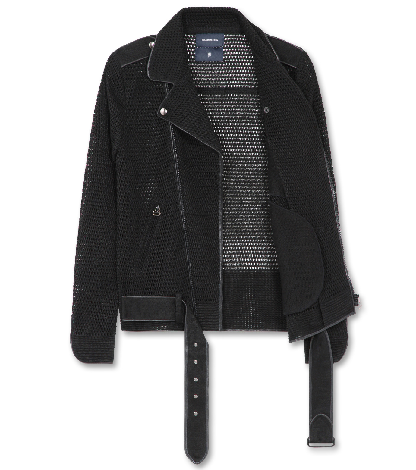 Miharayasuhiro(ミハラヤスヒロ)のLinen knit riders jacket-BLACK-9150-3537-13 拡大詳細画像2