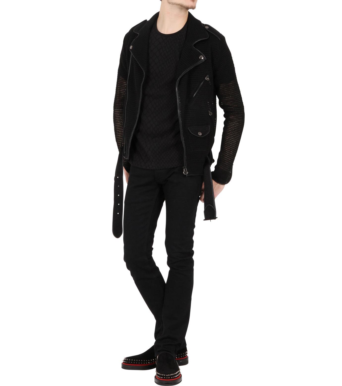 Miharayasuhiro(ミハラヤスヒロ)のLinen knit riders jacket-BLACK-9150-3537-13 拡大詳細画像3