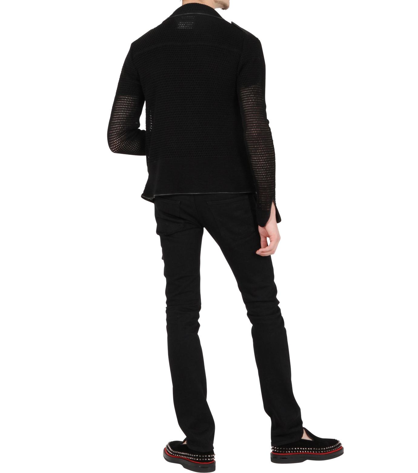 Miharayasuhiro(ミハラヤスヒロ)のLinen knit riders jacket-BLACK-9150-3537-13 拡大詳細画像4