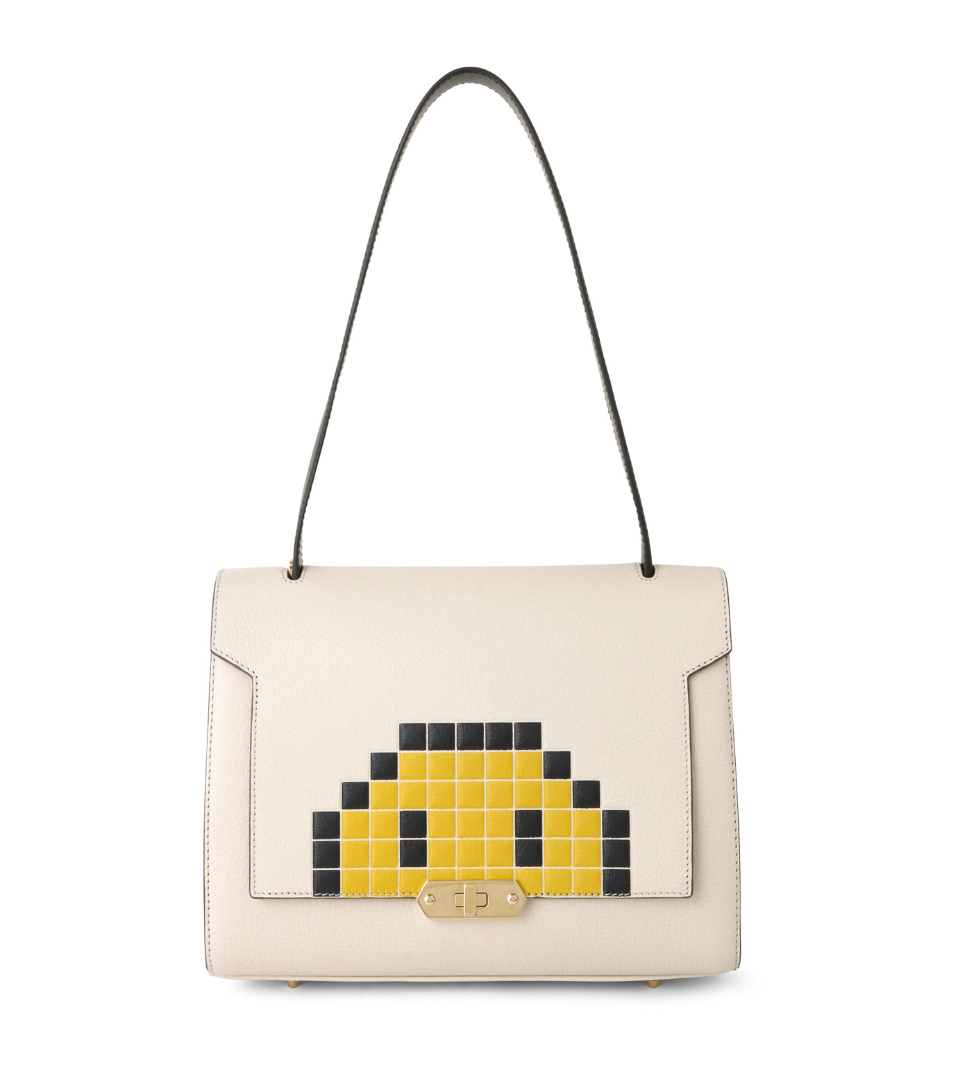 Anya Hindmarch(アニヤハインドマーチ)のBathurst Small Satchel Pixel Smiley-WHITE(ハンドバッグ/hand bag)-923248-5 拡大詳細画像1