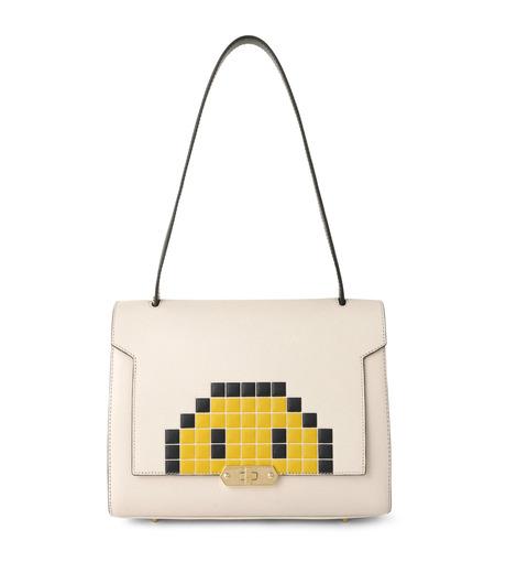 Anya Hindmarch(アニヤハインドマーチ)のBathurst Small Satchel Pixel Smiley-WHITE(ハンドバッグ/hand bag)-923248-5 詳細画像1