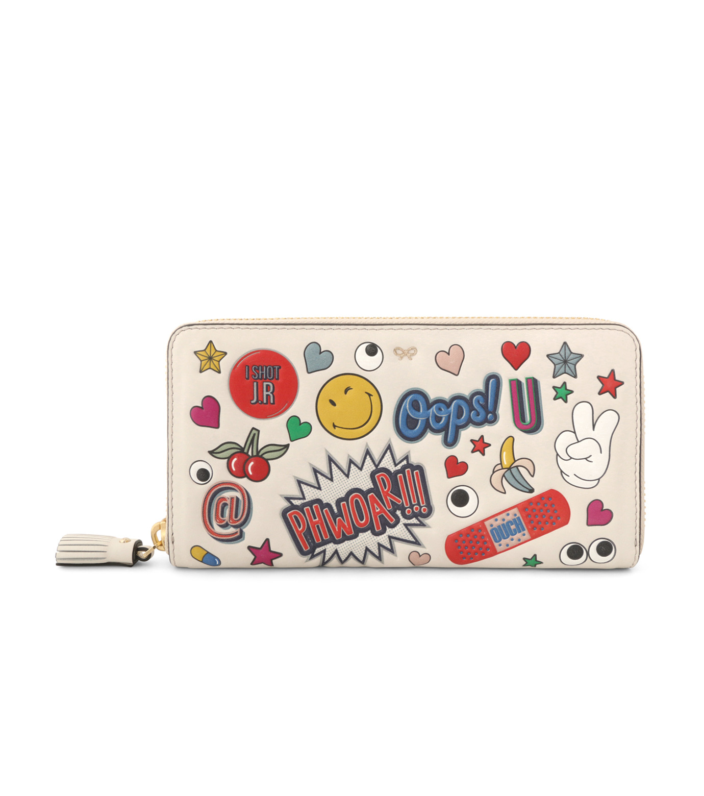 Anya Hindmarch(アニヤハインドマーチ)のLarge Zip Round Wallet All Over Wink-WHITE-924306-5 拡大詳細画像1